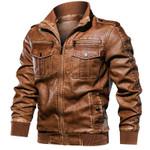 Motorcycle Leather Casual Outwear Coat Windbreaker Drop Jackets
