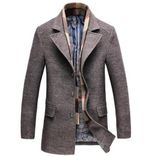 Casual Wool Trench Coat Fashion Business Long Thicken Slim Overcoat Coats