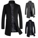 Solid Color Slim Wool Windbreaker Fashion High Quality Coats