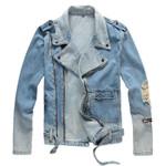 Holes ripped biker jacket for motorcycle Streetwear turn down Denim Jackets
