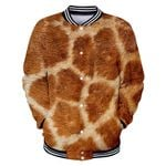 Baseball Uniform Animal Fur Emulation Giraffe Tiger Skin Funny Denim Jackets