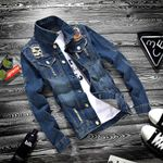 Youth Jeans Holes Turn-down Collar Slim Cowboy Hip Hop Streetwear Denim Jackets