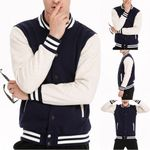 Baseball Fashion Patchwork Color Casual Stand Multicolor Selection Denim Jackets