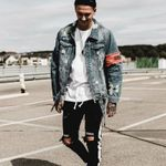 Streetwear Hip Hop Bomber Brand  Ripped Casual Fashion Denim Jackets
