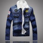 Trendy Warm Fleece Thick Coat Classic Solid Outerwear Denim Jackets