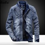 High Quality Coat Solid Color zipper Overcoat Casual Fashion Denim Jackets