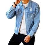Retro Street Casual Pilot Fashion Hole Slim Buttoned Denim Jackets