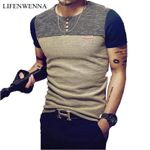 Casual Patchwork Sleeve Clothing Slim Fit Hip-Hop T Shirt