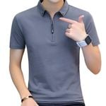 Cotton Sleeve Turn-down Collar Style T Shirt