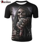 Skull  Punk Style Finger Hip Hop Funny T Shirt