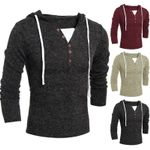 Casual style Hooded Knit Full Length Sweaters