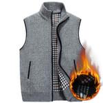 Wool Sweater Vest Mens Sleeveless Knitted Vest Jacket Warm Fleece Sweatercoat Plus SIze