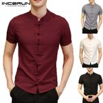 Vintage Button Down Slim Fit Style Tee Tops Short Sleeve Shirts