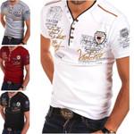 Fashion V-neck Cotton Shirts Tops Casual Slim Fit Print Short Sleeve Shirts