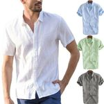 Cotton Dress Button Cool Loose Casual V-Neck Short Sleeve Shirts