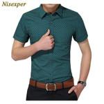 New Fashion Cotton Social Polka Dot Casual Short Sleeve Shirts