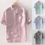Baggy Stripe Cotton Linen Button Pocket Short Sleeve Shirts