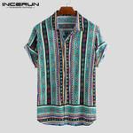 Ethnic Style Print Casual Shirt Lapel Neck Short Sleeve Shirts