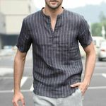Linen V Neck Stiped Basic Tee  Casual Short Sleeve Shirts