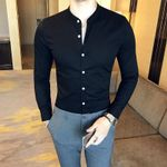 High Quality Casual Cotton Stand Collar Dress Shirts