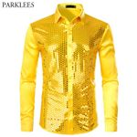 Long Sleeve Silk Satin Shiny Disco Party Dress Shirts