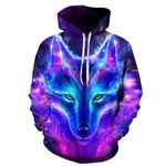 Magic color Galaxy Wolf Fashion Pullovers Sweatshirts Sweat Homme Hoodies