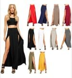New Arrival High Waisted Double Slits Solid Long Maxi Skirts