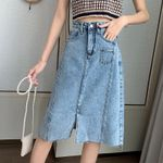 Mid-length Denim Fashion Stitching Package Hip A-Line Skirts