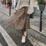 Simplee Vintage leopard print pleated Skirts