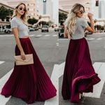 Chiffon Elegant Pleated Long Maxi High Waist Beach Skirts