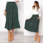 White Dots Floral Print Pleated Midi Elastic High Waist Skirts