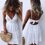 Boho Sexy Strappy Lace Beach V Neck Party Sundress Dresses