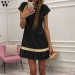 Patchwork Fishtail Short Sleeve Party Small Pleated Casual Dresses