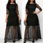 Polka Dot Print Lace Maxi Elegant Casual Black Dresses