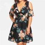 Retro Cold Should Floral Casual Short Sleeve Dresses