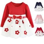Cotton Flowers Long Sleeves Toddlers vestido Dresses