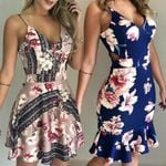 Boho Short Mini Party Beach Sundress V-neck Floral Fashion Dresses