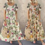 New Fashion Casual Short Sleeve Boho Retro Linen Dresses