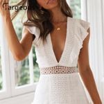 Elegant Embroidery Short Dress Sexy V Dresses