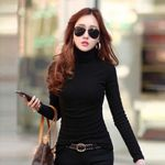 Fashion Solid Colors Long Sleeve Slim Turtle Neck T-shirts