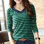 Long Sleeve  Casual Striped Cotton Camisa Feminina T-shirts