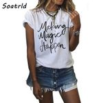 Fashion Letter Print  Tee Tops Short Sleeve O-neck T-shirts