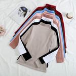 Vintage Turtleneck Plus Velvet solid Color Long Sleeve T-shirts