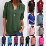 New Fashion Sexy V Neck Zipper Big Size Long Sleeve T-shirts