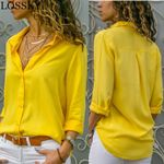Basic Selling Button Solid Long Sleeve Shirt Chiffon Blouses