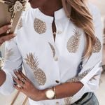 Pineapple Ananas White Long Sleeve Blouses
