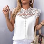 Patchwork Sleeveless Solid Shirt Blusas Roupa Feminina Blouses