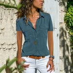Short Sleeve V-Neck Blouse Casual Shirts Blouses