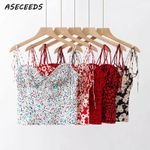 Heart print crop top sexy backless streetwear Tank Top & Camis