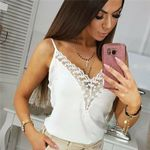 Sleeveless V-neck Lace Casual Off Shoulder Tank Top & Camis